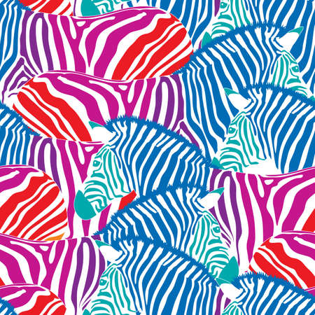 Colorful zebra seamless pattern. Savannah Animal ornament. Wild animal texture. Striped black and white.