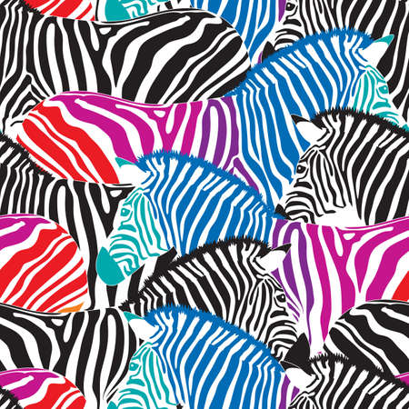Black and colorful zebra seamless pattern. Savannah Animal ornament. Wild animal texture. Striped black and white. design trendy fabric texture,