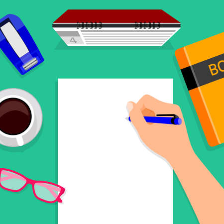 stamped: Hand with pen writing on white paper. Modern flat design of calendar, book, glasses, tape and cup of  coffee for web banners, web sites, printed materials, infographics.