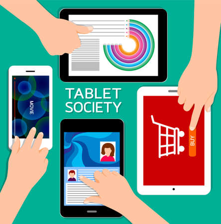 using tablet: Human hands set using tablet. devices using mobile services concept. Illustration isolated on green background