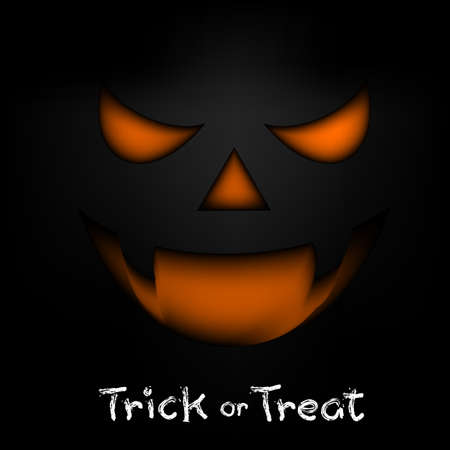 horror face: Trick or treat text design with horror face. Hand drawn Halloween lettering. Illustration