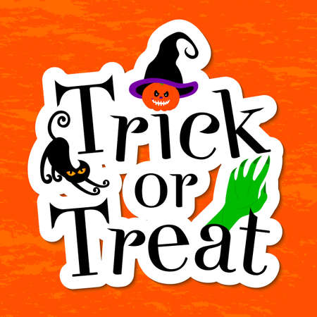 hollows: Typography inscription Trick or treat. Happy Halloween greeting card. Pumpkin, witch hat, cat and zombie hand.  Scary holiday poster. Illustration.