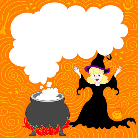 text area: Halloween design with magic with cute witch. Halloween banner with text area. Illustration