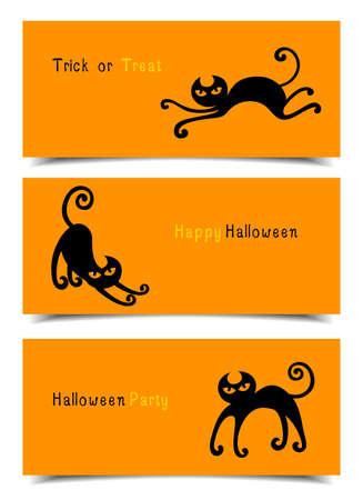 halloween black cat: Flat style Halloween banners. Website spooky header or banner set with Halloween black cat