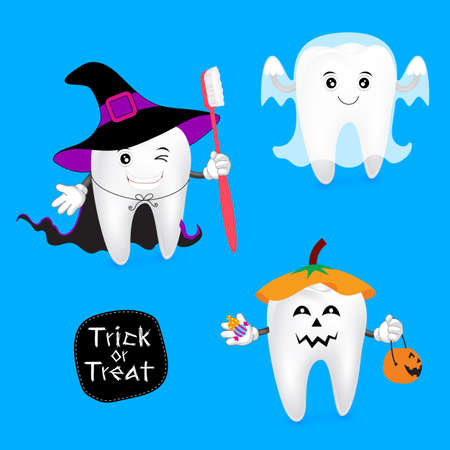 Halloween concept of teeth set. Funny teeth illustration, witch, ghost and pumpkin isolated on blue background.