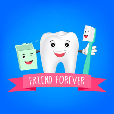Best Friends teeth. Friend forever. Vector illustration for children dentistry with toothbrush,  dental floss and tooth.