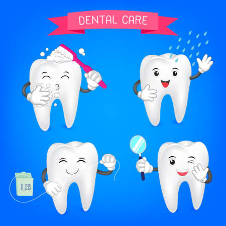 rinsing: Healthy teeth set. Oral hygiene banners with cute tooth.  Brushing, flossing,  rinsing and check up.  illustration.