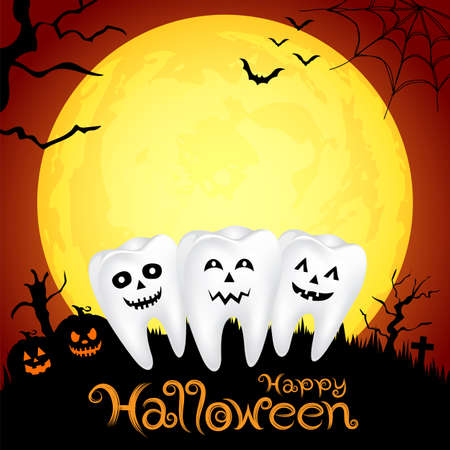 Teeth character with pumpkin in moon night on halloween. Illustration for banner, poster, greeting card