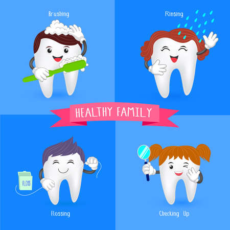 rinsing: Healthy family tooth. Oral hygiene banners with cute tooth.  Brushing, flossing,  rinsing and check up.  illustration.