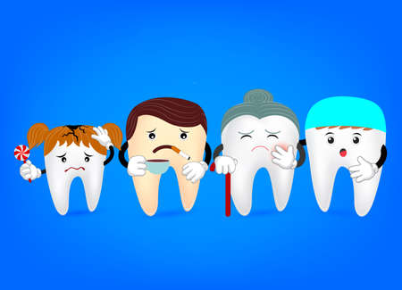 bleaching: Concept of problematic teeth with dentist . Funny  illustration. cartoon tooth problem  with candy, coffee and smoke. great for dental care and teeth whitening and bleaching concept. Illustration