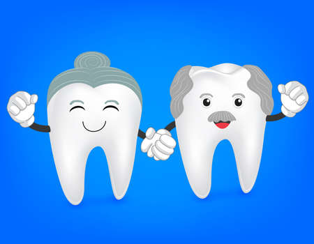 retire: Senior couple tooth hand in hand. cute cartoon illustration isolated on blue background. great for health dental care concept.