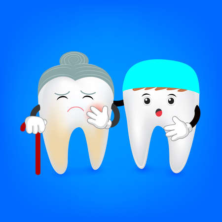 Decay senior tooth with dentist. Cartoon teeth with plaque. Funny illustration isolated on blue background.