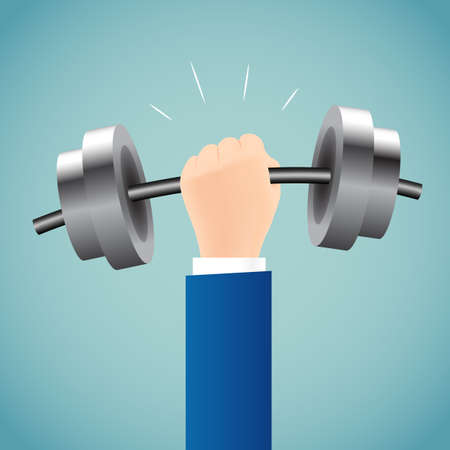heavy lifting: businessman lifting a heavy weight. Business concept.