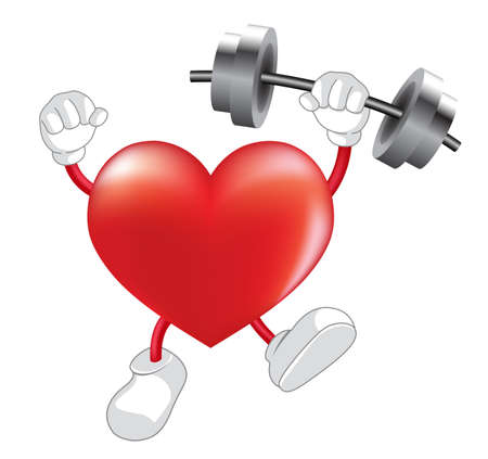 over weight: Strong heart weight lifting over . Heart shaped mascot. Healthcare concept,  illustration isolated on white background.