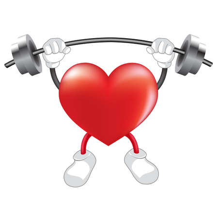 Strong heart weight lifting over. Heart shaped mascot. Healthcare concept,  illustration isolated on white background.