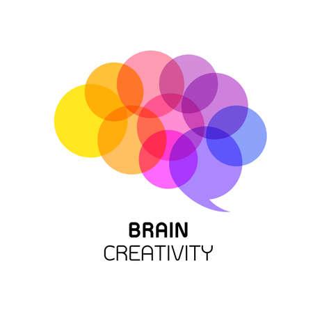 脳のアイコン デザイン。創造的な思考。脳のアイデアは、白い背景で隔離。  イラスト・ベクター素材