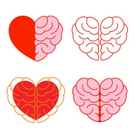 Set of brain and heart. Brain in heart shape.