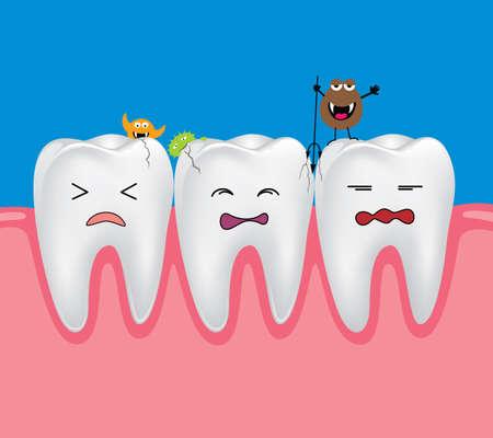 dientes con caries: Diente con bacterias. problema dental. dientes cariados tristes temen con bacterias
