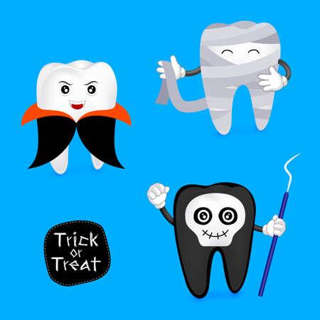 Concepto de Halloween del juego de caracteres dientes. Ilustración divertida de dientes, drácula, fantasma y momia aislados sobre fondo azul.