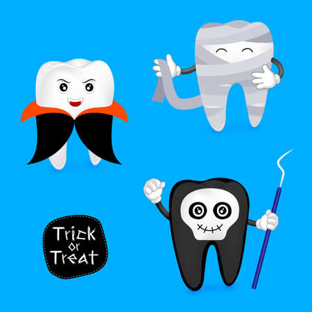 Halloween concept of teeth character set. Funny tooth illustration, dracula, ghost and mummy isolated on blue background.