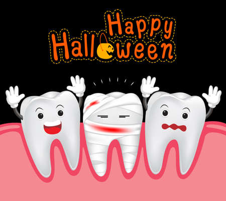 ugliness: Happy Halloween of teeth and mummy. Funny Cute cartoon character.  illustration Illustration
