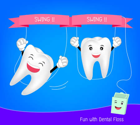 cute cartoon teeth with floss. Tooth character swinging with dental floss. Funny  illustration. Illustration
