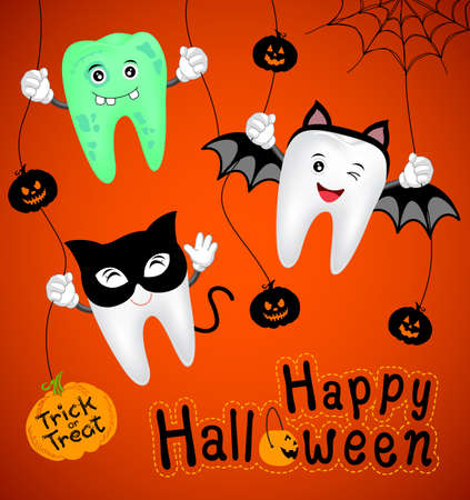 Teeth character with pumpkin in moon night on halloween. Fuuny illustration for banner, poster, greeting card Vectores