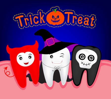 ugliness: Happy Halloween of teeth monster witch and ghost. Funny Cute cartoon character.  illustration