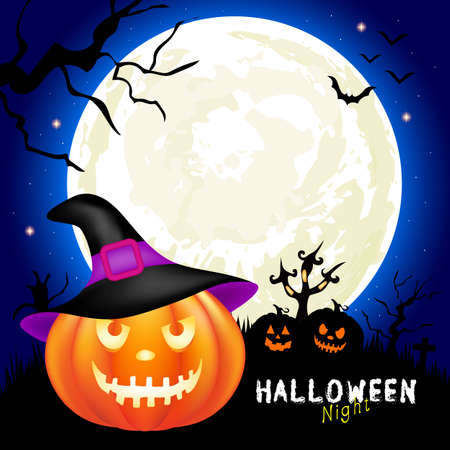Halloween pumpkins, moon and dark castle on blue background. Illustration can be used as a greeting card, poster banner or print. Illustration