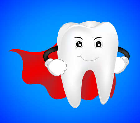 hero, healthy tooth concept. dental character. Illustration Illustration
