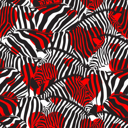Colorful zebra seamless pattern with heart shape.Savannah Animal ornament. Wild animal texture. Striped black and white. design trendy fabric texture, illustration. Illustration