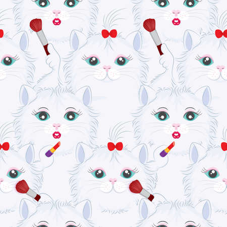 girlish: Seamless pattern with funny girlish cats with lipstick and makeup brush. Cute cartoon kitty background illustration.
