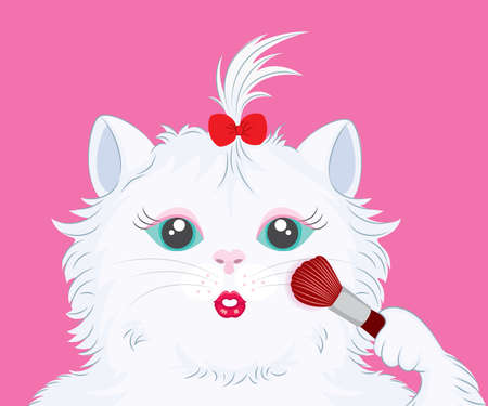 make up brush: Illustration of cute cat with make up brush