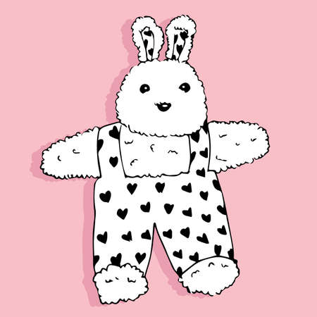 Cute toy bunny on white background