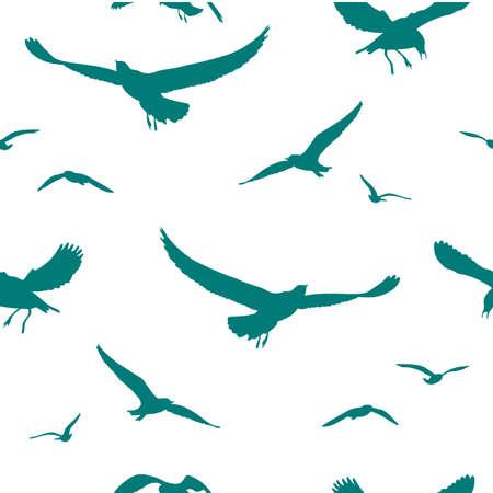 Seagulls seamless pattern, illustration