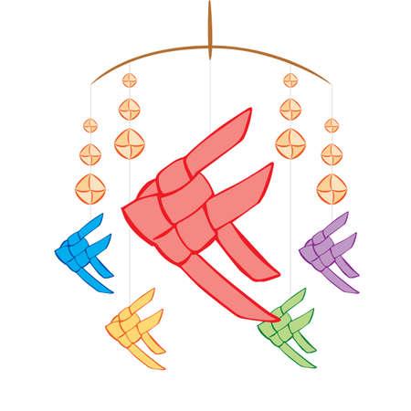 Carp craft hanging mobile, illustration