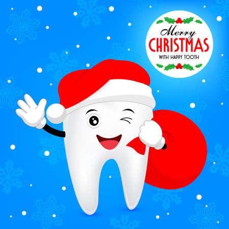 dentures: Christmas tooth. Teeth with santa hat and bags. illustration
