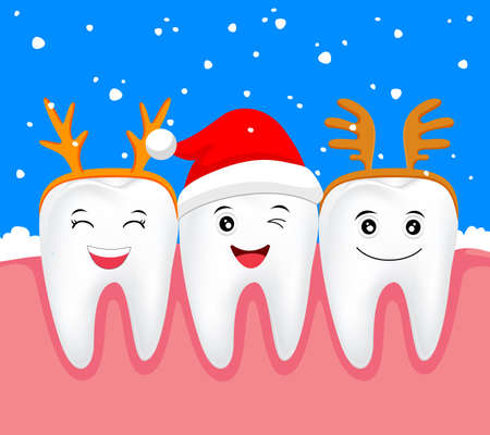 happy new year cartoon: Christmas teeth character concept.  Tooth with Santa hat and antler. Illustration