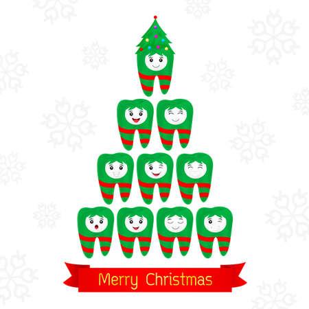 Christmas teeth fancy. Dental Christmas card. illustration isolated on white background.