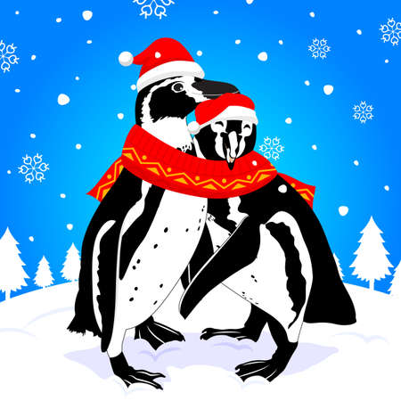 love image: cute penguin cartoon couple with love. image with scarf and snow. illustration. Illustration