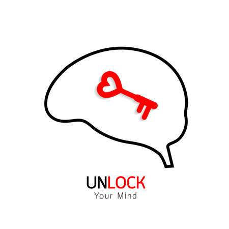 lockout: Key and outline of brain. Conceptual of the key is your brain, illustration isolated on white background.