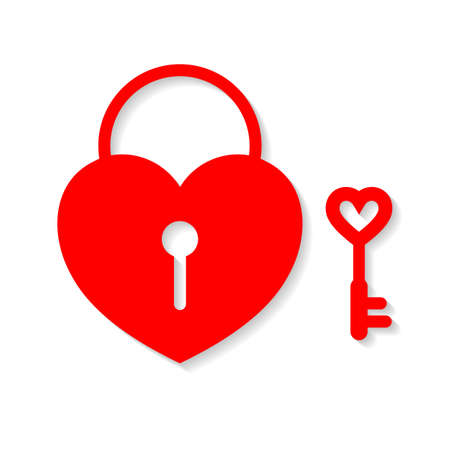 Heart lock and key. Flat design, illustration isolated on white background.