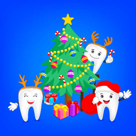 幸せな歯とメリー クリスマス。医療歯科医療の概念に最適です。イラスト。