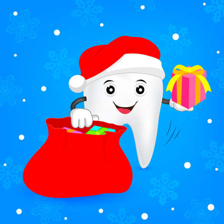 Christmas tooth cocept. Teeth with santa hat, gift box and bag. illustration