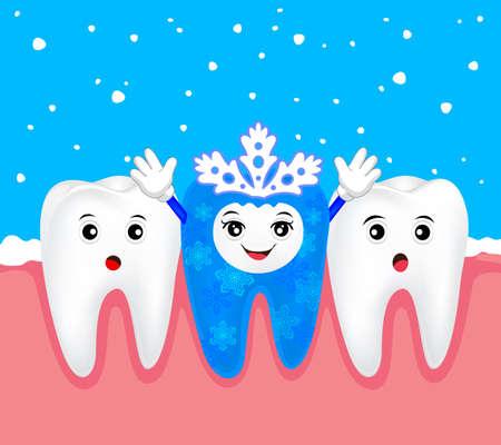 christmas costume: Christmas teeth character concept.  Tooth on snowflake costume. Illustration Illustration