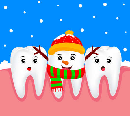 Christmas teeth character concept.  Tooth on snowman costume. Illustration Illustration
