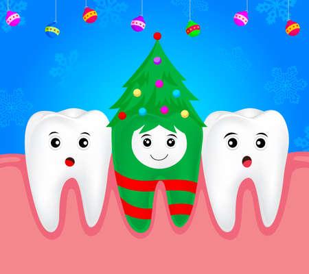 christmas costume: Christmas teeth character concept.  Tooth on Christmas tree costume. Illustration Illustration