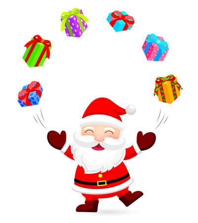Feliz Santa Claus hace malabares con cajas de regalo. Ilustración de la Navidad. Aislado en el fondo blanco.