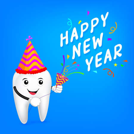 cartoon tooth character with papershoot and happy new year.  Great for health dental care concept. illustration Ilustrace