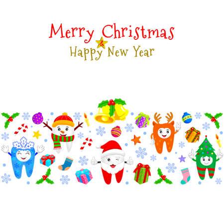 かわいい漫画歯文字クリスマス要素の背景。クリスマス ツリー、雪だるま、雪の結晶、サンタ クロース トナカイのキャラクター。イラスト、白い  イラスト・ベクター素材